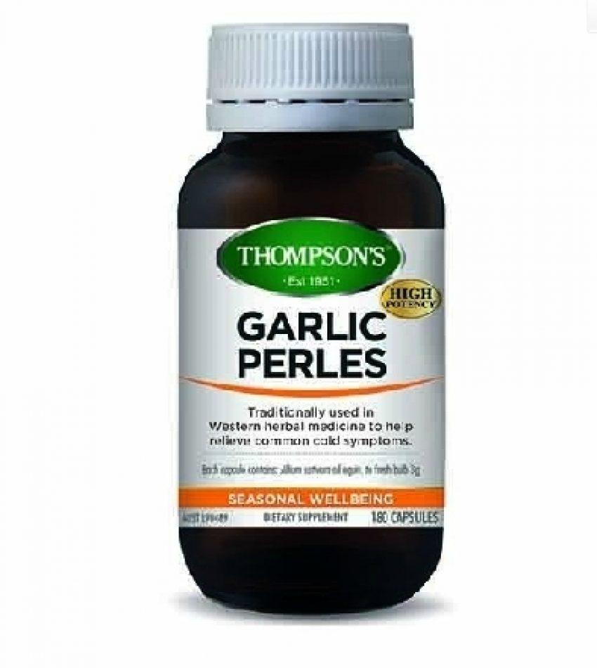 Thompson`s汤普森 大蒜精胶囊 180粒 Thompson's Garlic Perles 180 cap