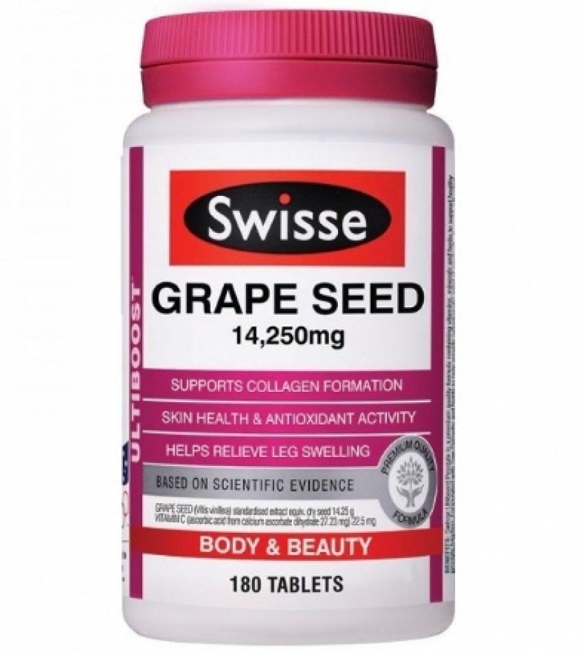 Swisse 葡萄籽精华14,250mg 180片 Swisse Grape Seed 14,250mg 180Tab(24年初到期)