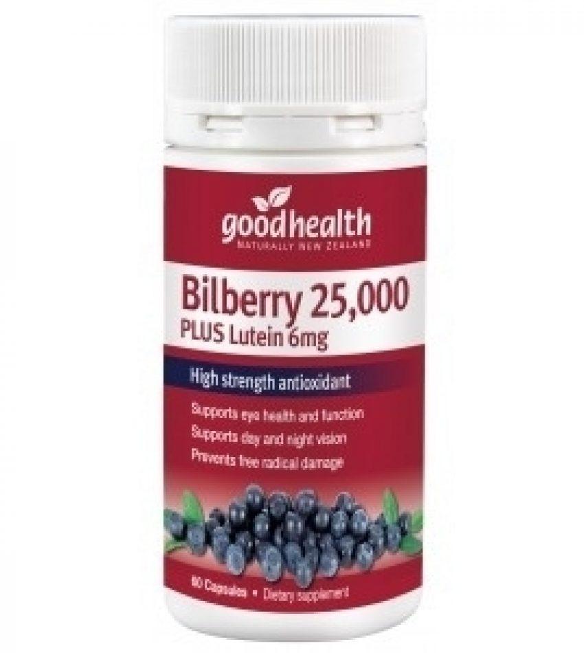 Good Health好健康 越橘叶黄素护眼片 25000mg 60粒 Good Health Bilberry 25000mg Plus Lutein 60Cap(23年初到期)