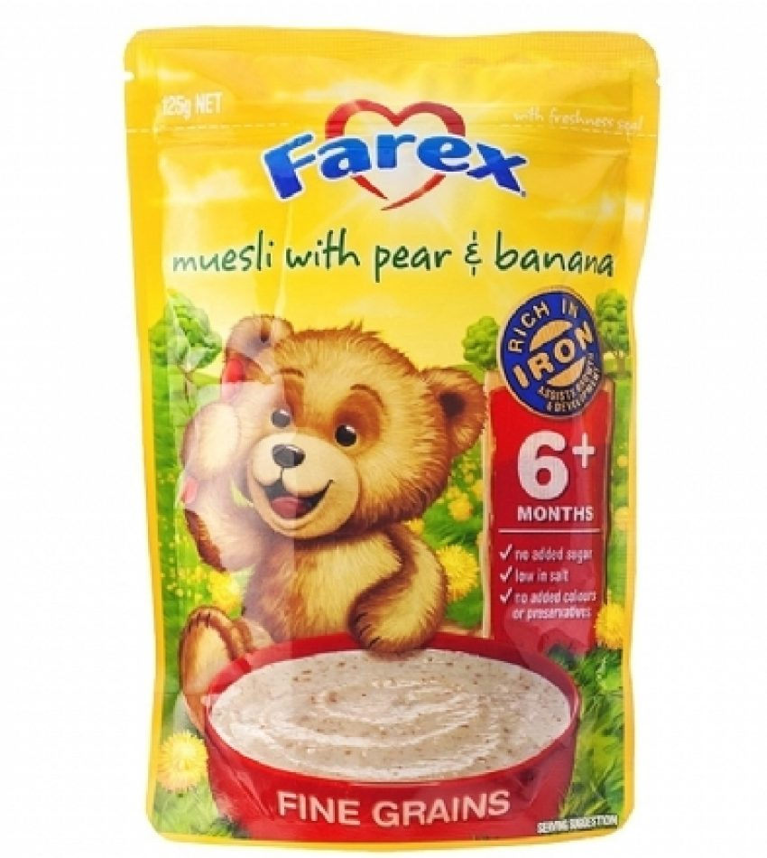 Farex 香蕉梨子味高铁6+婴儿米粉 125g Farex Muesli With Pear & Banana 6+ 125g