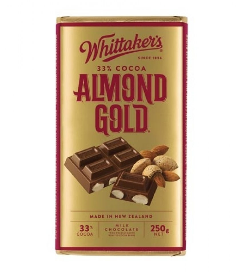 Whittaker's惠特克 杏仁夹心巧克力 250g Whittaker s 33% Cocoa Almond Glod Chocolate 250g