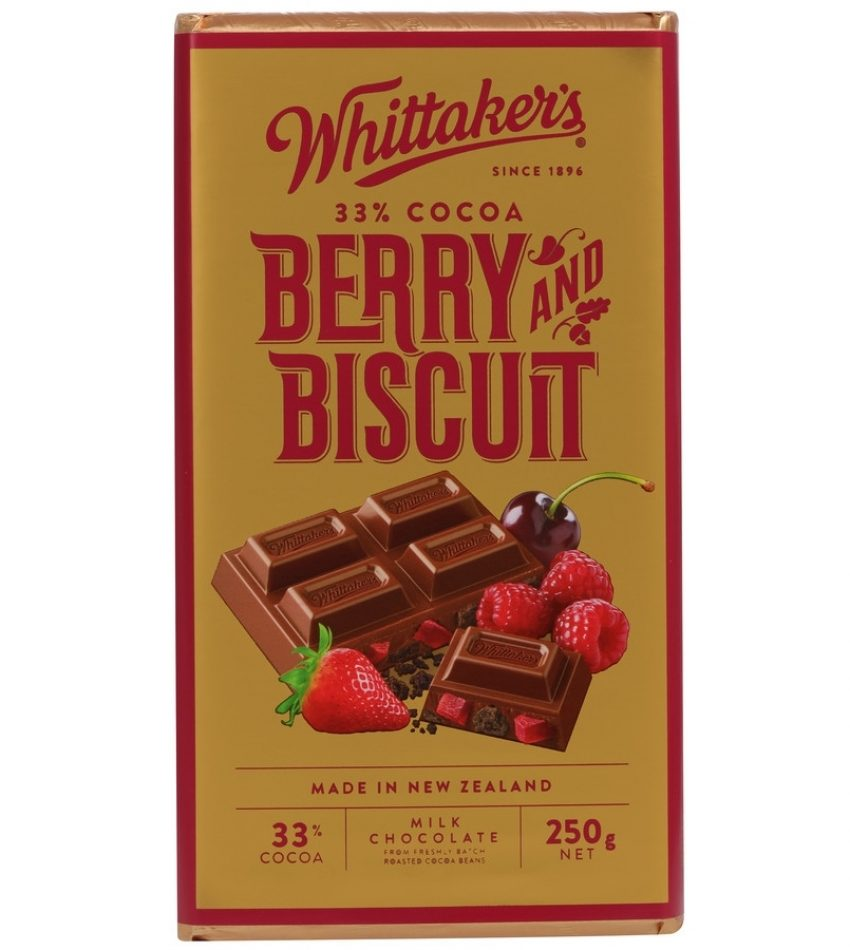 Whittaker's惠特克 梅子饼干巧克力 250g Whittaker s 33% Cocoa Berry & Biscuit Chocolate 250g