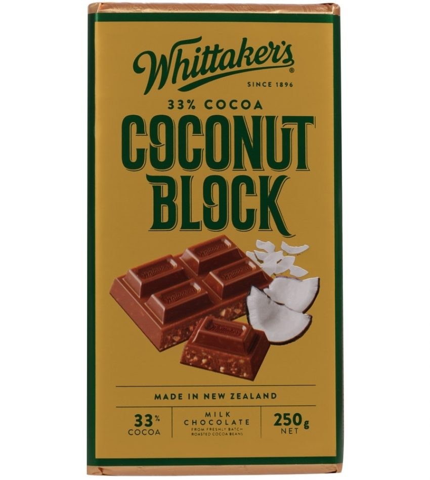 Whittaker's惠特克 椰奶果粒巧克力 250g  Whittaker s 33% Cocoa Coconut Block Chocolate 250g