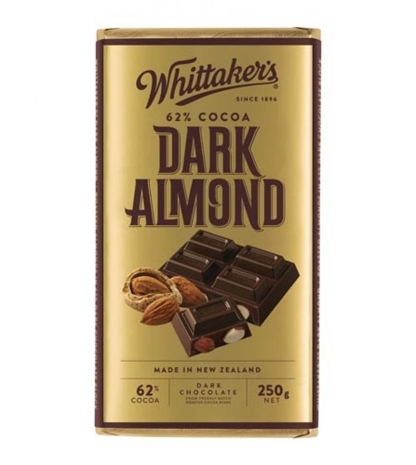 Whittaker's惠特克 纯杏仁黑巧克力 250g Whittaker s 62% Cocoa Dark Almond Chocolate 250g