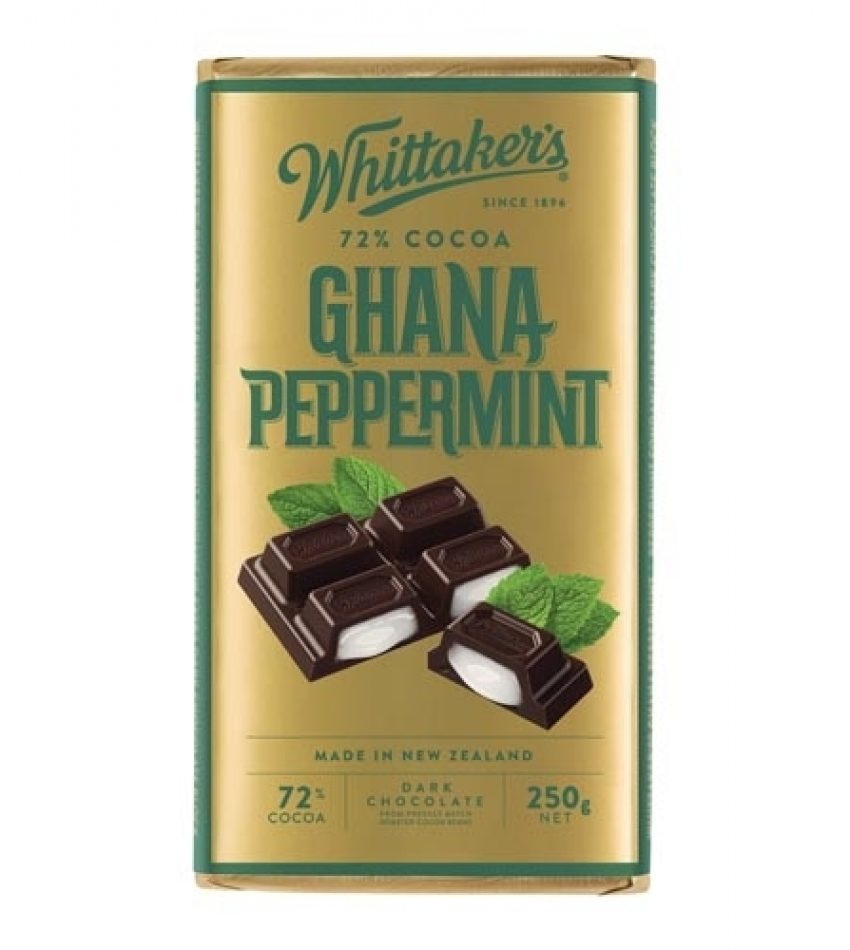 Whittaker's惠特克 薄荷夹心巧克力 250g Whittaker s 72% Cocoa Chana Peppermint Chocolate 250g