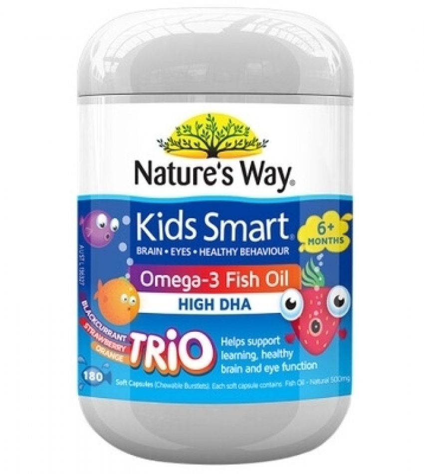 natures way佳思敏儿童鱼油180粒DHA补脑益智护眼深海鱼油软胶囊 NATURE'S WAY KIDS SMART OMEGA-3 FISH 0IL