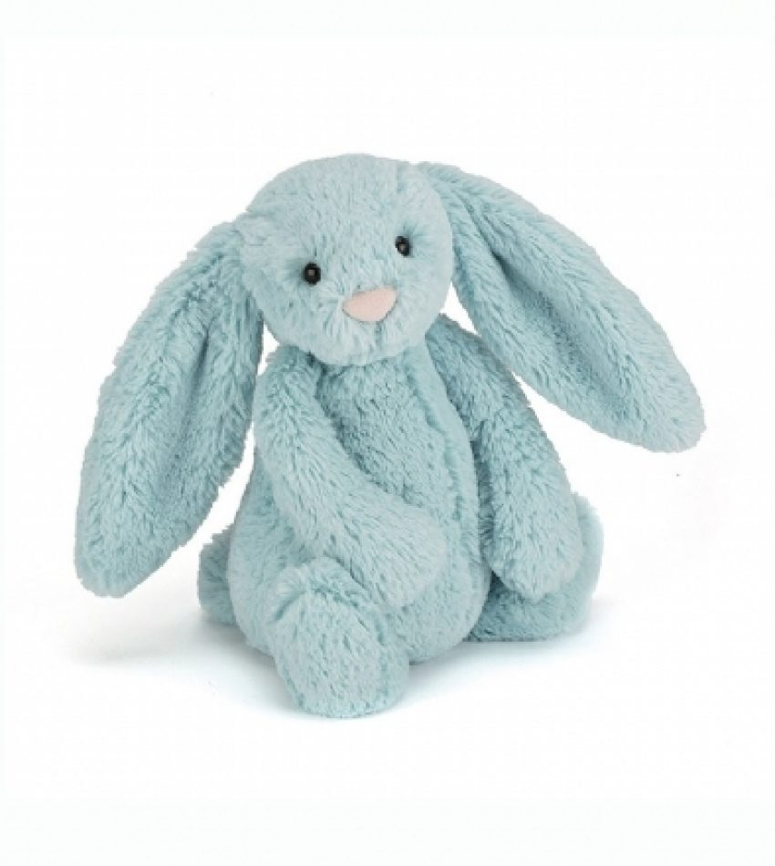 Jellycat 中号害羞邦尼兔 淡蓝色        兔子                                                                                    Jellycat Medium Bashful Aqua Bunny