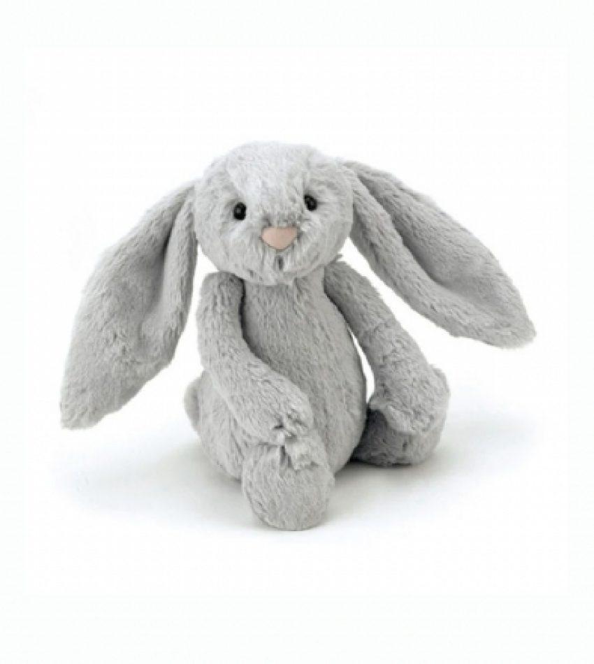 Jellycat 中号害羞邦尼兔 银蓝色         兔子                                                                                                                Jellycat Medium Bashful Silver Bunny