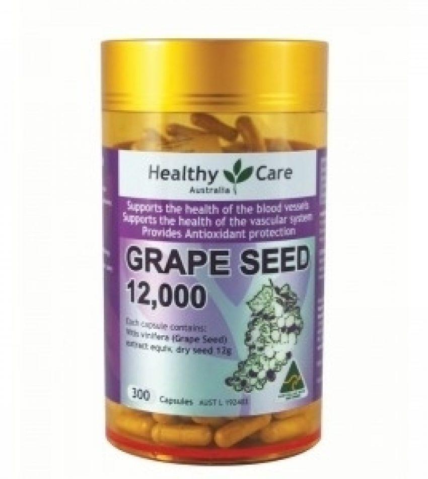 Healthy care 葡萄籽胶囊 12000mg 300粒 抗氧化防衰老 HEALTHY CARE GRAPE SEED 12000 300 CAPS