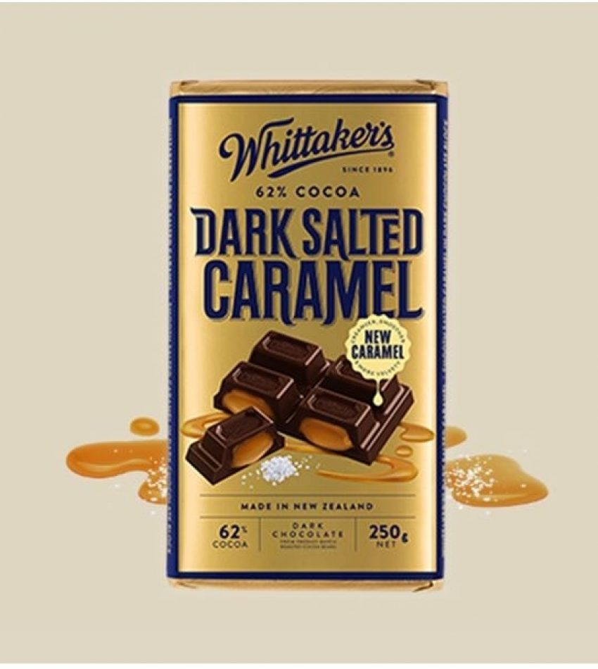 Whittaker's惠特克  咸焦糖 62%黑巧克力 250g Whittakers DARK SALTED CARAMEL 62% chocolate 250g