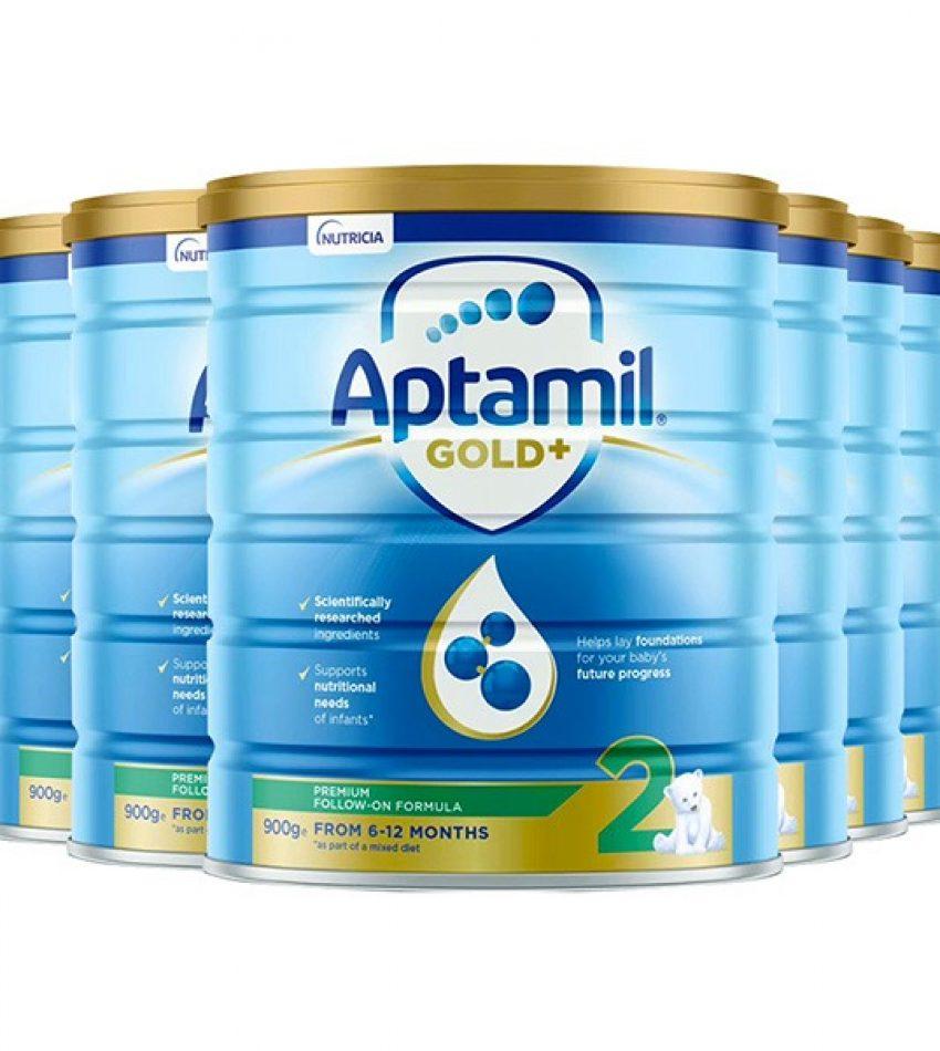 【包邮】Aptamil爱他美 金装婴儿奶粉900克*6罐 2段(6-12个月) Nutricia Aptamil Gold+ 2 From 6-12months(23年1月到期)