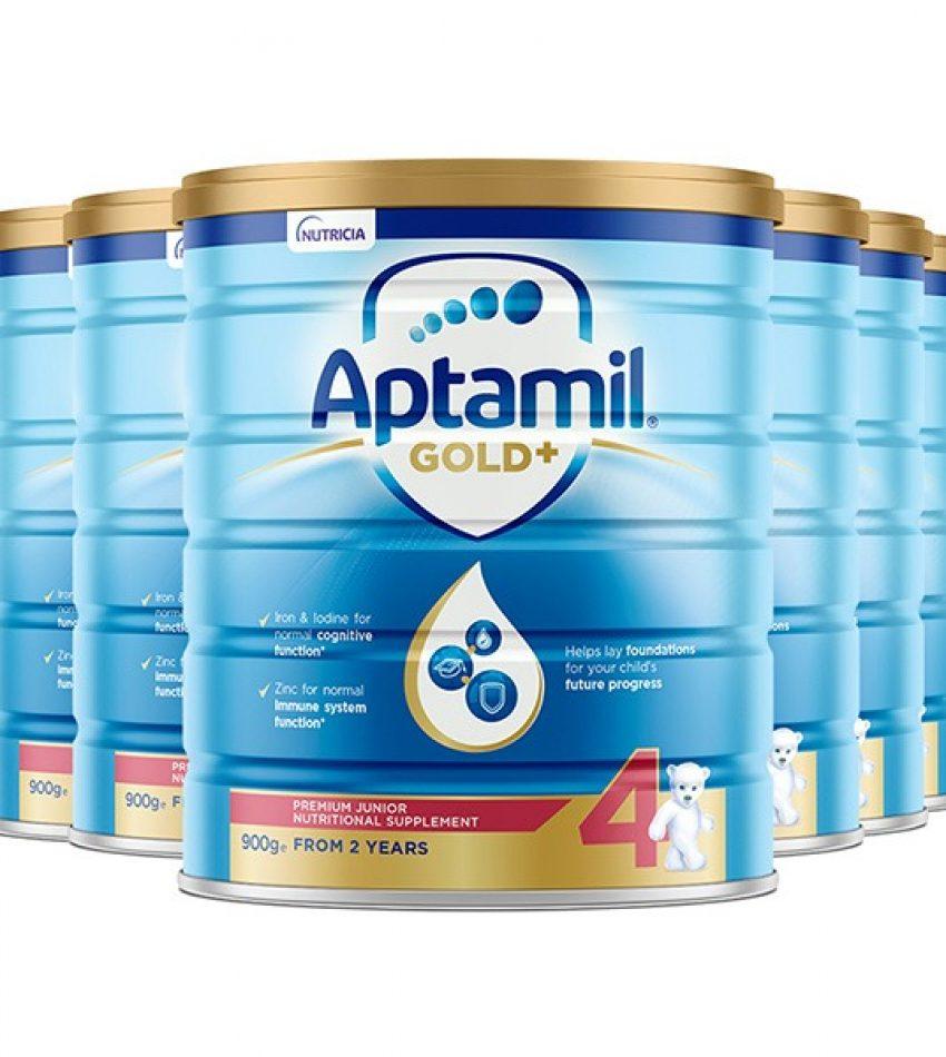 【包邮】Aptamil爱他美 金装婴儿奶粉900克*6罐 4段(2岁以上) Nutricia Aptamil Junior Gold+ 4 From 2years(23年3月到期)