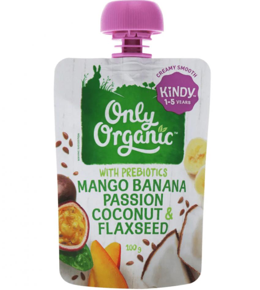 Only Organic  婴儿有机果泥 100g(适合1-5岁)(含芒果香蕉百香果椰子亚麻籽)