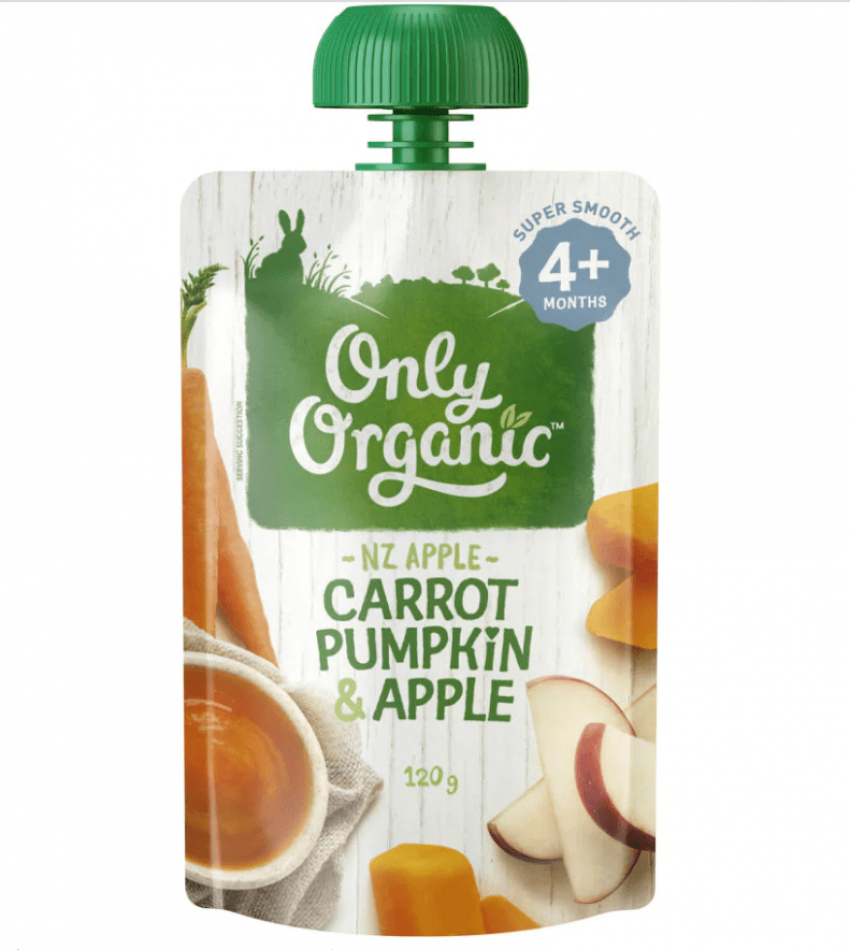 Only Organic 婴儿有机果泥 120g(适合4个月婴儿)(含胡萝卜南瓜苹果)