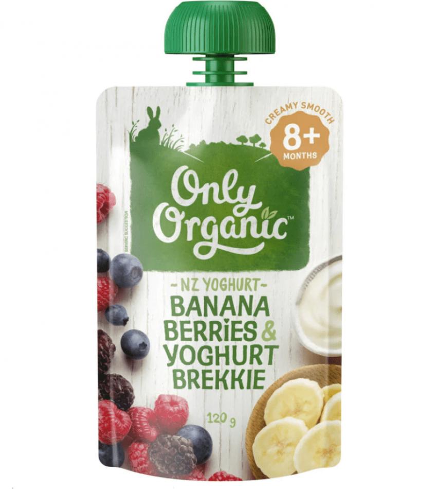 Only Organic 婴儿有机果泥 120g(适合8个月婴儿)(含香蕉莓子酸奶)