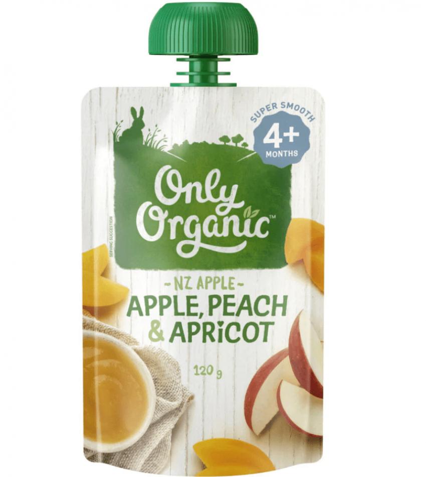 Only Organic 婴儿有机果泥 120g(适合4个月婴儿)(含苹果桃杏)
