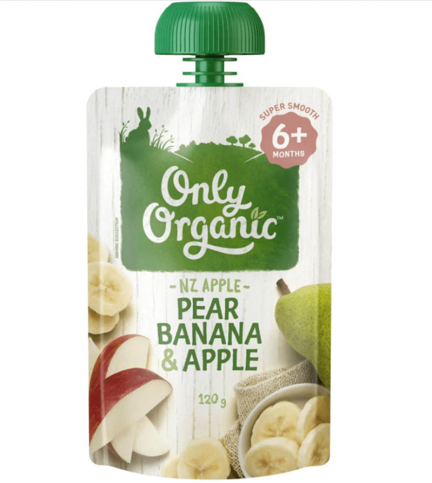 Only Organic 婴儿有机果泥 120g(适合6个月婴儿)(含香蕉梨苹果)