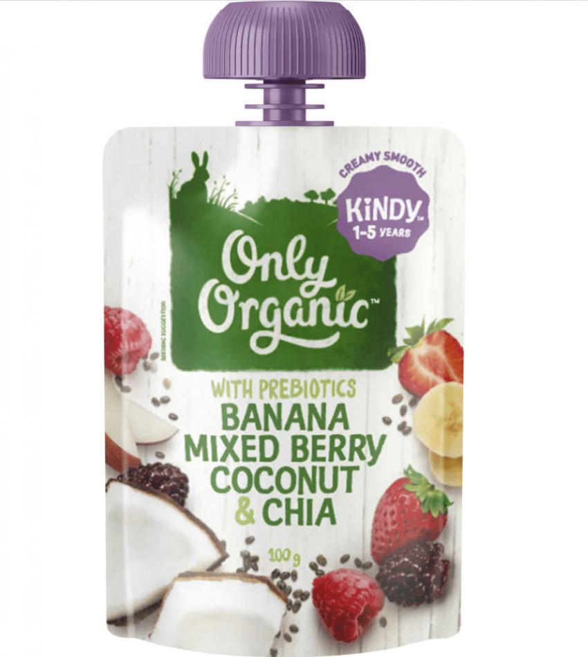 Only Organic 婴儿有机果泥 100g(适合1-5岁)(含香蕉莓子椰子奇亚籽)