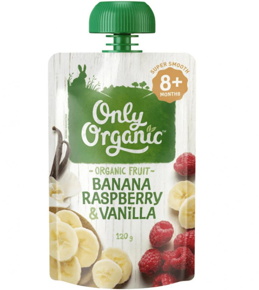 Only Organic 婴儿有机果泥 120g(适合8个月婴儿)(含香蕉覆盆子香草)